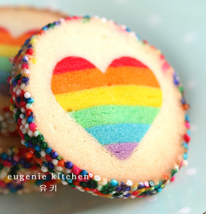 rainbow heart cookies - Eugenie Kitchen