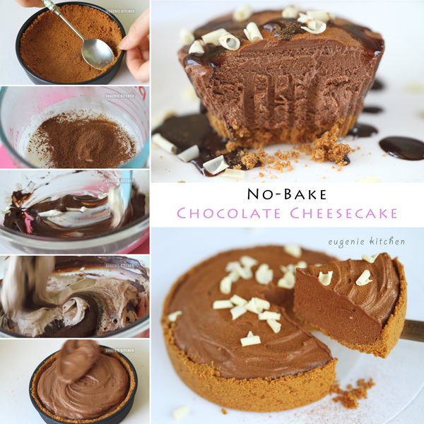 Very chocolaty no-bake chocolate cheesecake recipe. Follow the video ...