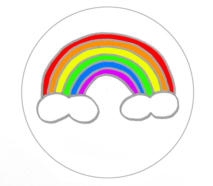 Rainbow on clouds cookie plan 1 Make 6 sheets of rainbow colors, half ...